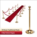Brass Stanchion Kit: 10 + 9 velvet ropes (Ball Top with Dome Base)