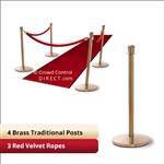 Brass Stanchion Kit: 4 + 3 velvet ropes (Crown Top with Flat Base)