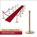 Brass Stanchion Kit: 10 + 9 velvet ropes (Crown Top with Flat Base)