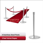 Stainless Steel Stanchion Kit: 4 + 3 velvet ropes (Crown Top with Flat Base)