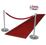 Chrome Posts (2-Pack with 1 Red Velvet Rope)
