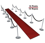 Queue Barriers (10-Pack with 8 Ropes)