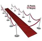 Queue Barriers (10-Pack with 9 Ropes)