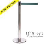 SALE - QueuePro 250PS, Polished Stainless Stanchion with 11' ft. belt