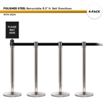 SET: 4 POLISHED STEEL Retractable 8.5' ft. Belt Stanchions, with Sign