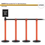 SET: 4 SAFETY Retractable 8.5' ft. Belt Stanchions, with Sign