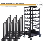 SET: 18 BLACK Retractable 11' ft. Belt Stanchions, with Horizontal Storage Cart