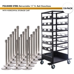 SET: 18 POLISHED STEEL Retractable 11' ft. Belt Stanchions, with Horizontal Storage Cart