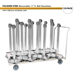 SET: 18 POLISHED STEEL Retractable 11' ft. Belt Stanchions, with Vertical Storage Cart
