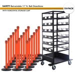 SET: 18 SAFETY Retractable 11' ft. Belt Stanchions, with Horizontal Storage Cart