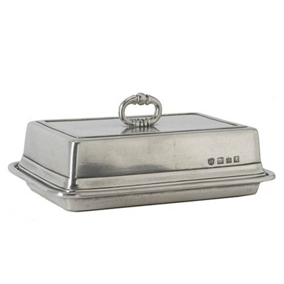 Double Butter Dish with Cover by Match Pewter