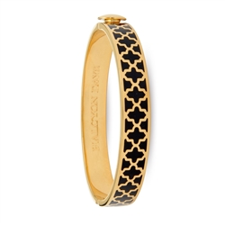 Agama Black & Gold Hinged Bangle by Halcyon Days