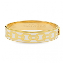 Chain Cream & Gold Hinged Bangle by Halcyon Days