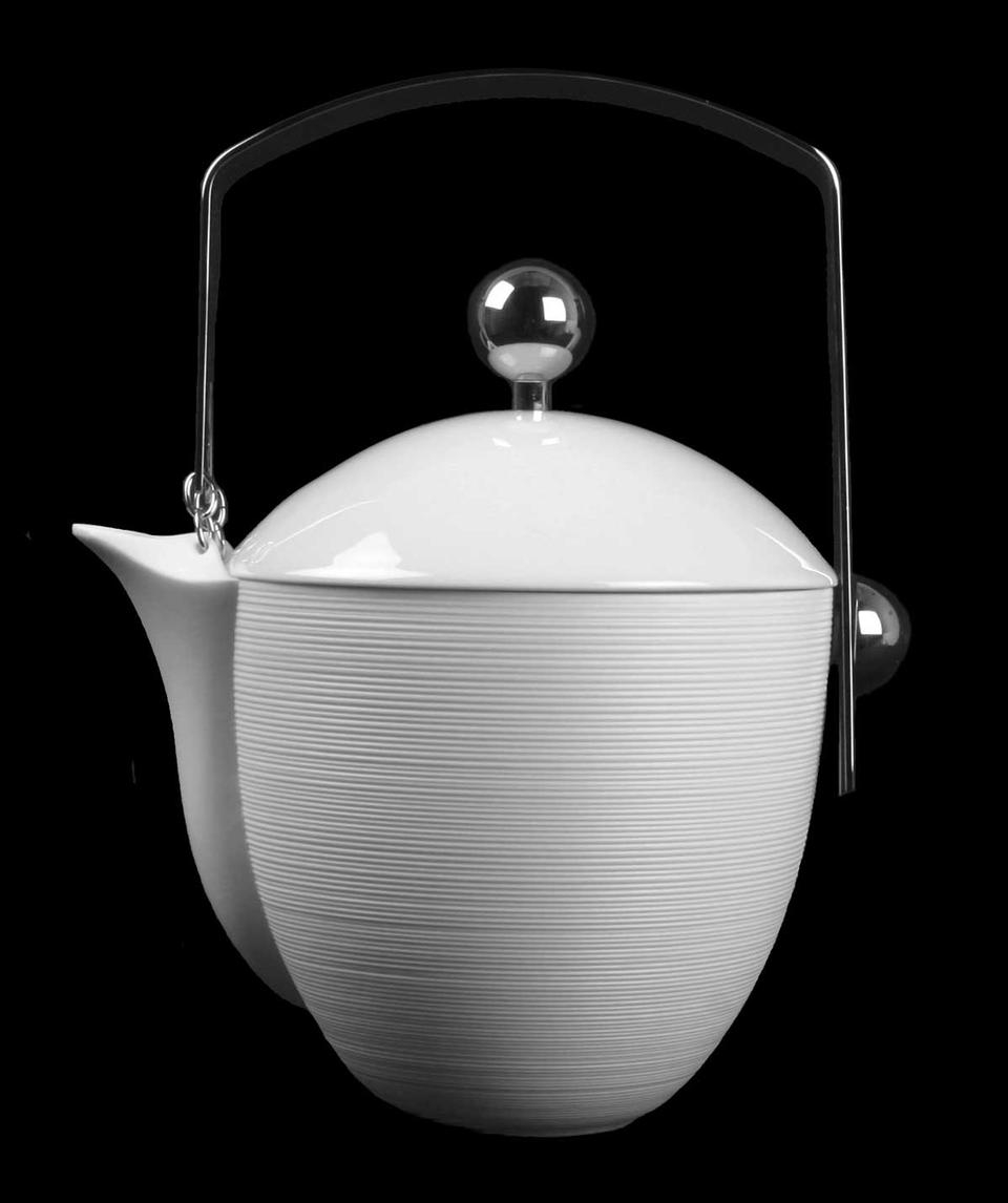 Hemisphere White TeaCoffee Pot With Stainless Steel Accents By JL