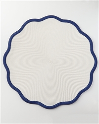 "16"" Border Scallop Placemat (Oxford Blue) by Deborah Rhodes"