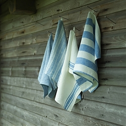 Philippe Linen Hand Towel (White/Blue) by Linen Me