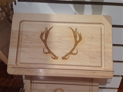 "13"" Rectangle Wood Cutting Board with Antlers by Maple Leaf at Home"
