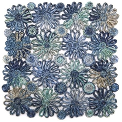 Blue Patchwork Daisy Square Placemat by Deborah Rhodes