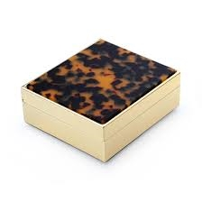 "4"" Faux Tortoise Gold Box by Addison Ross"