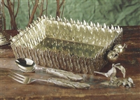 Feather Rectangular Serving Dish by Cipolla Pewter