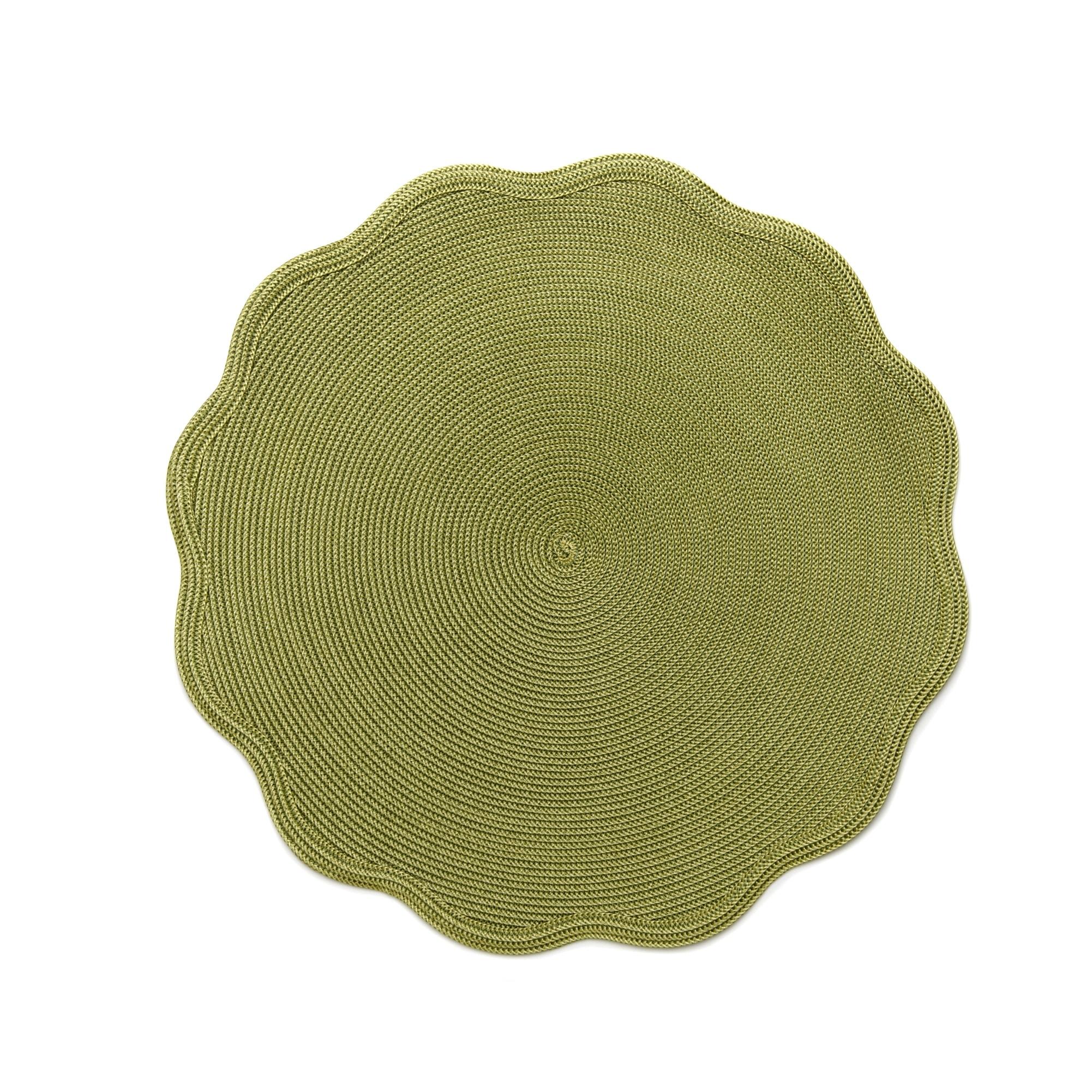 Unique bathroom rugs - Deborah Rhodes 16 Quot Linen Braid Round Scallop Placemat