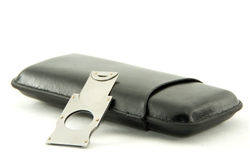 Cigar Case for 3 Cigars & Cutter