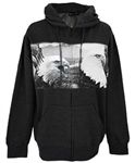 Eagle Charcoal Gray Hooded Cotton Fleece Jacket