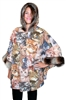Cat Print Poncho with Faux Fur trim on Hood and Cuffs.  All Style 3050 Fleece Poncho's Feature 100% poly fleece, hood with faux fur trim, faux fur trim on cuffs, Ladies Cut One Size Fits All: ponchos 27 inches long.  Made in USA by Black Mountain Apparel