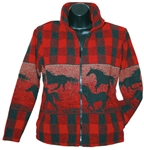 Red Plaid Horses Travelour Unisex Jacket