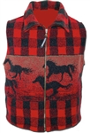Red Plaid Horses Wool Blend Vest
