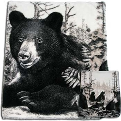 Black Bears Reversible 60 x 72 Fleece Blanket