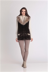 Hooded Moose Crossing Faux Fur Vest