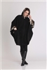 Hooded Fleece Cape with Leopard Print Trim