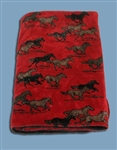Red Horses Reversable 60x 50 Fleece Blanket
