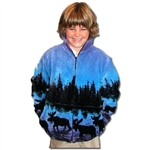 Twilight Moose Youth Fleece Jacket