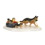 Snow Village Inner Tube Sled Dog Race
