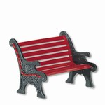 RED WROUGHT IRON PARK BENCH
