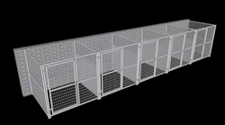 5-Run Indoor/Outdoor Dog Kennels with Fight Guards 6'W x 6'L x 6'H