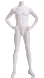 Male Mannequin, Headless - White - Hands at Sides from www.zingdisplay.com