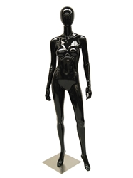 Glossy Black Female Mannequin with Egghead