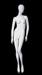 Female Abstract Head Gloss White Mannequin