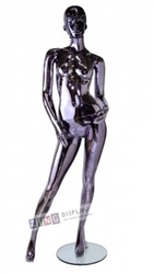 Unbreakable Black Chrome Female Egghead Mannequin