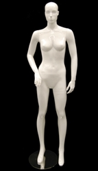 White Mannequin Abstract Head Female with Right Elbow Bent