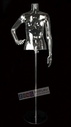 Clear Headless Female Half Torso Form Mannequin