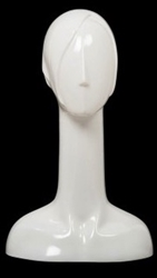 Female Abstract Mannequin Head Form Glossy White