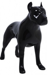 Glossy Black Abstract Pit Bull Dog Mannequin