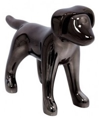 Black Chrome Abstract Small Puppy Dog Mannequin