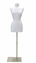 Glossy White Female Torso Dress Form Size 2/4