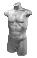 Headless Male 3/4 Display Form in White or Silver