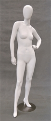 Egghead Matte White female mannequin with left arm on hip.